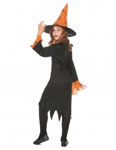 Oranje spinnenweb heksenkostuum voor kinderen-2