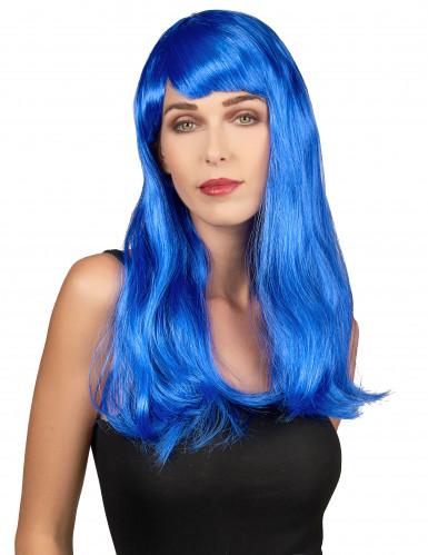 Lange golvende blauwe damespruik