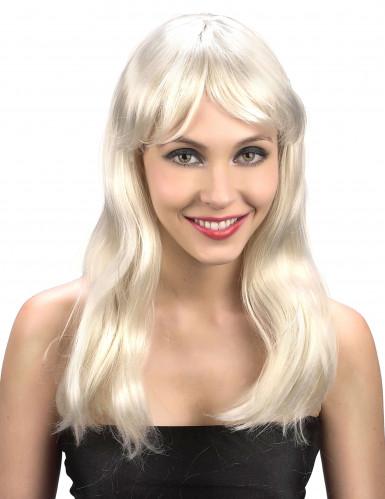 Glanzende lange blonde damespruik