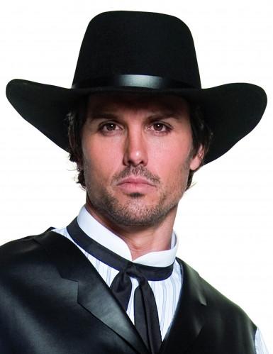 Zwarte luxe cowboyhoed voor volwassenen