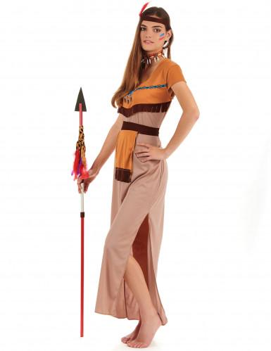 Klassieke beige en oranje indianen outfit voor vrouwen-1