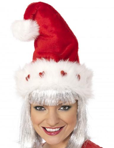 Luxueuze hartjes kerstmuts voor volwassenen