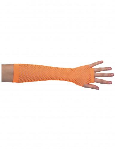 Lange oranje netstof handschoenen voor volwassenen