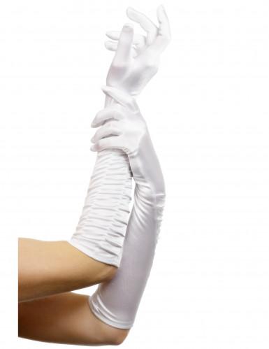 Halflange witte handschoenen voor volwassenen