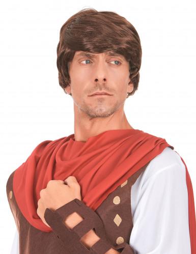 Donkerbruine pruik van een Romein voor mannen
