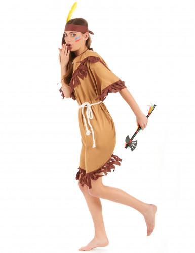 Bruin met beige indianen kostuum voor vrouwen-1