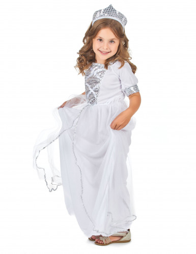Zilverkleurige lovertjes prinsessen kostuum voor meisjes-1