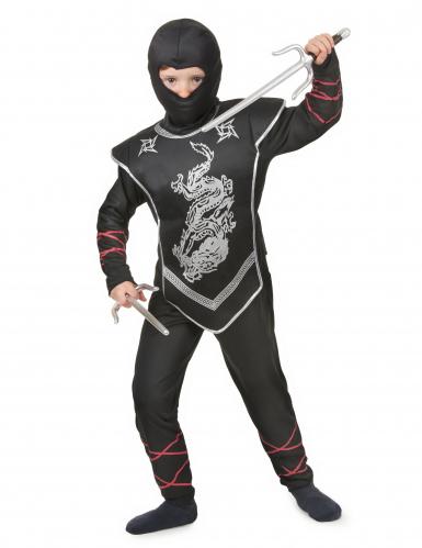 Zwart ninja kostuum voor jongens -1