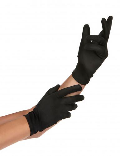 Korte zwarte fluweelachtige handschoenen voor volwassenen