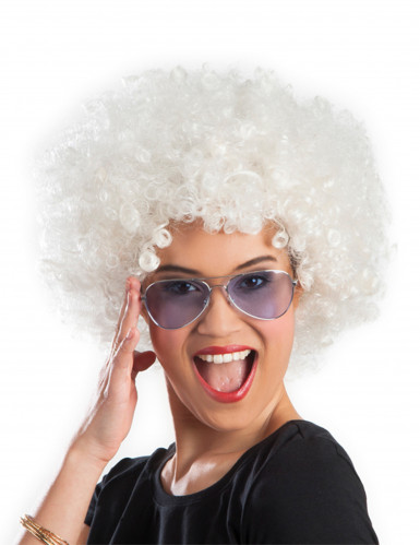 Witte afro / clown pruik voor volwassenen