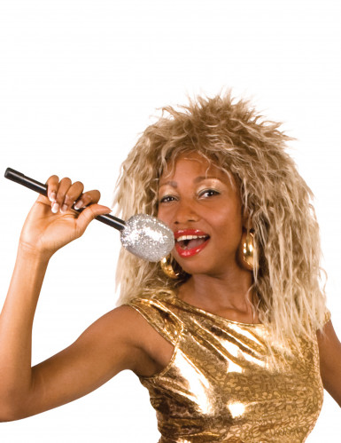 Pruik bekende rock zangeres voor dames Feestarikel