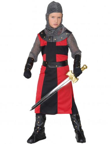 Zwart en rood ridderkostuum voor jongens