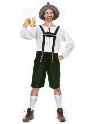 Witte en groene Beierse outfit voor mannen