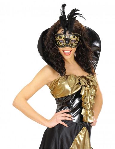 Zwart-gouden halfmasker met pluimen voor volwassenen-1