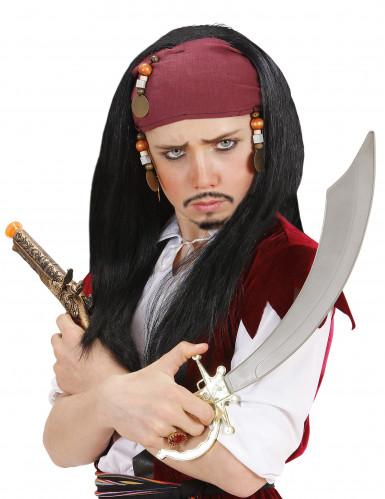 Zwarte piratenpruik voor kinderen