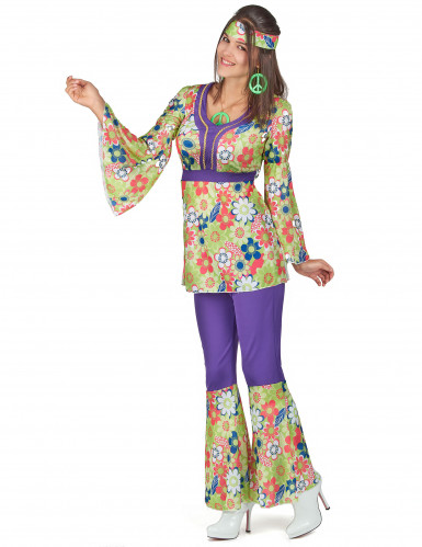 Bloemen hippie outfit voor dames-1