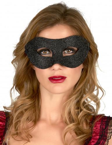 Zwart blinkend halfmasker voor volwassenen.