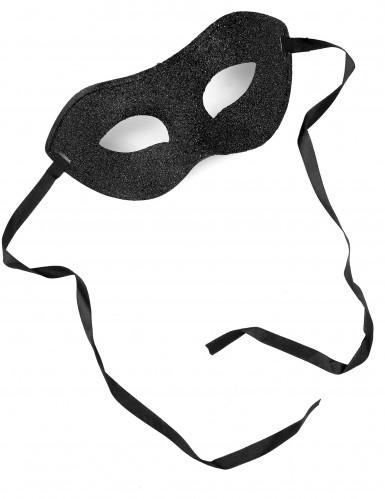 Zwart blinkend halfmasker voor volwassenen.-1