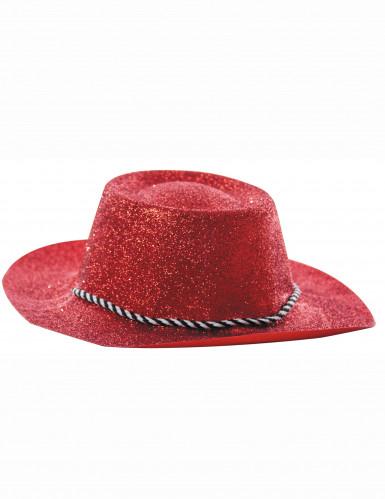 Rode cowgirlhoed met lovertjes