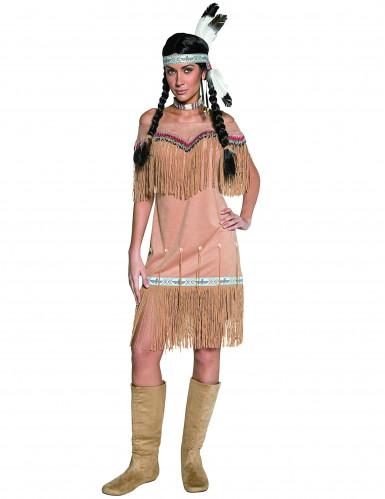 Beige indianen kostuum met franjes voor dames