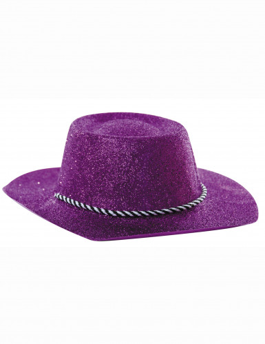 Paarse cowgirl glitter hoed