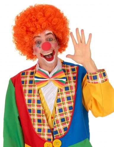Oranje afro / clown pruik voor volwassenen-1