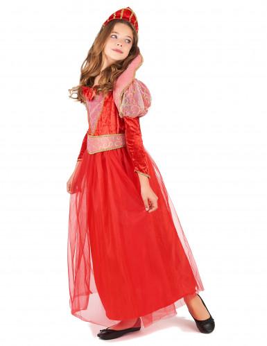 Rode middeleeuwse koningin kostuum voor meisjes-1