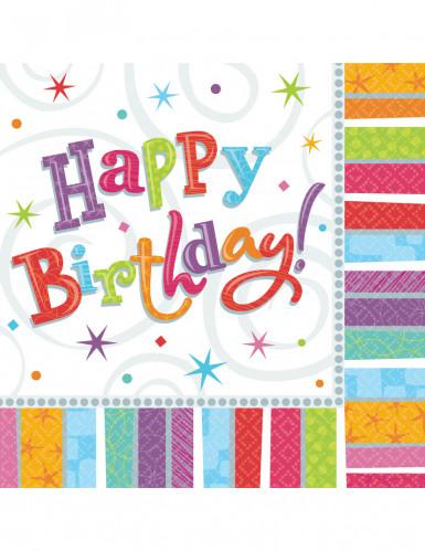 Gekleurde Happy Birthday servetten