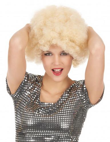 Blonde afro pruik voor volwassenen