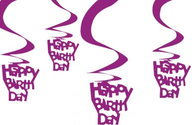Set paarse Happy Birthday decoraties