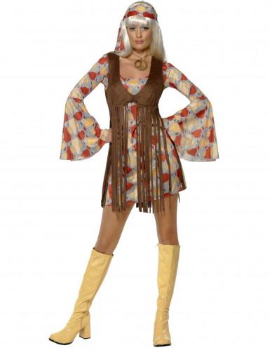 Retro hippie outfit met psychedelische patronen voor vrouwen