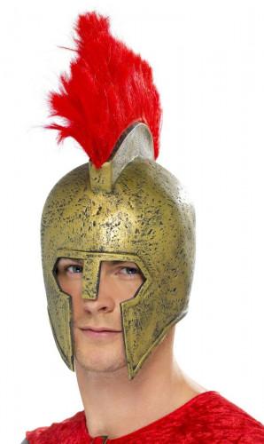 Latex goudkleurige gladiatorhelm voor volwassenen