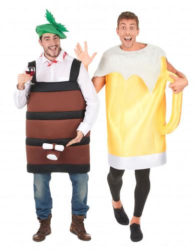 Bierglas en bierton koppel kostuum voor volwassenen