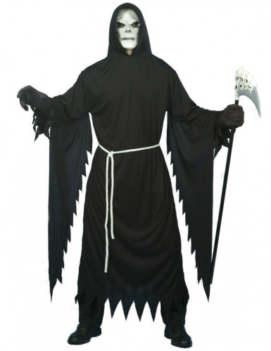 Zwart gekarteld Magere Hein kostuum voor volwassenen