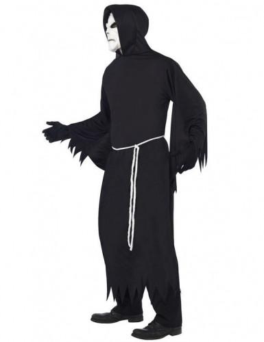 Zwart gekarteld Magere Hein kostuum voor volwassenen-1