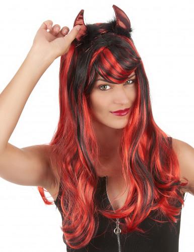 Halloween Duivel hoorns met zwarte vacht voor volwassenen-1