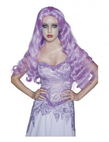 Lange paarse gothic pruik voor dames