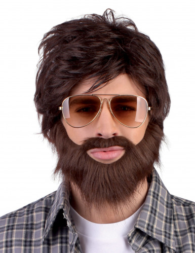 Pruik met snor en baard