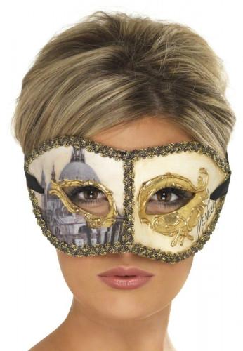 Goukleurig venetiaanse masker voor volwassen