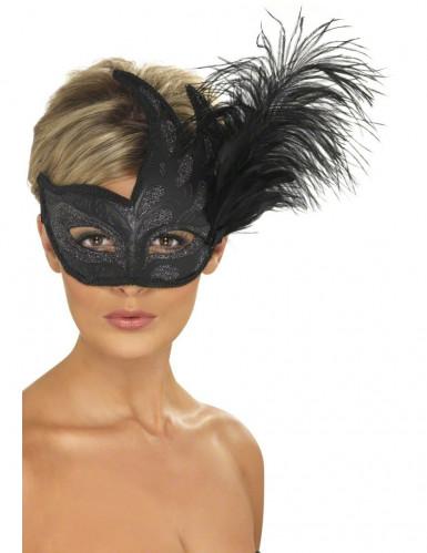 Zwart masker met zilverkleurige glitters en veren voor volwassenen