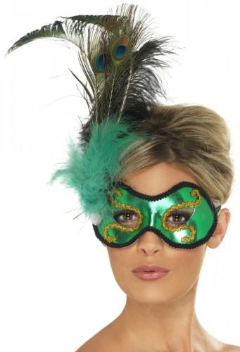 Groene masker met pluimen voor volwassenen