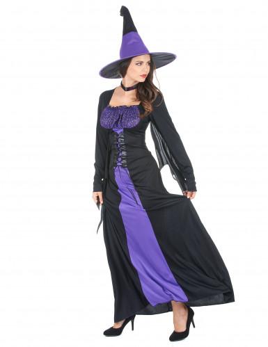 Zwart met paars heks kostuum voor vrouwen-1