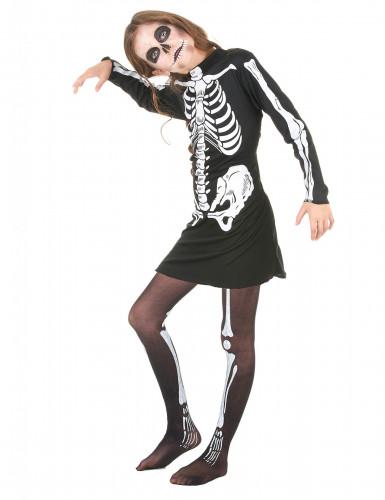 Zwart skelettenkostuum voor meisjes-1