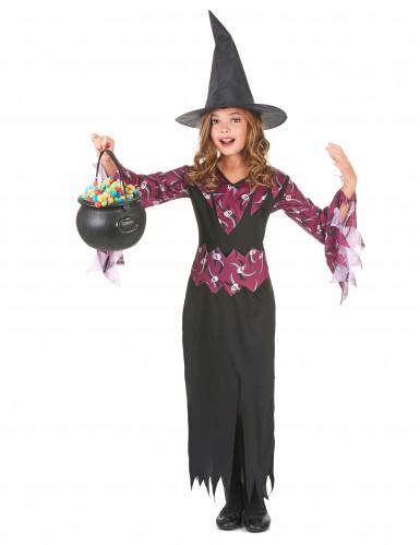Doodskop paars heksenkostuum voor meisjes