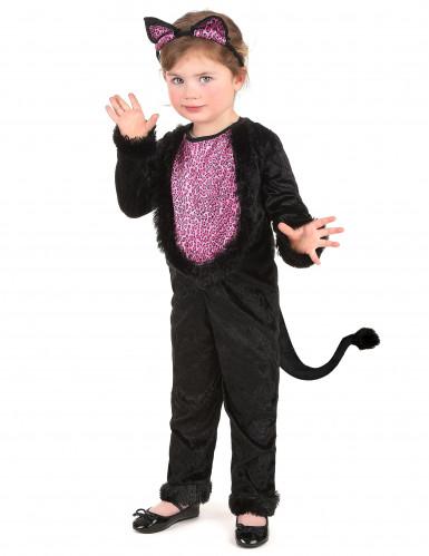 Roze en zwart kattenpak voor meisjes