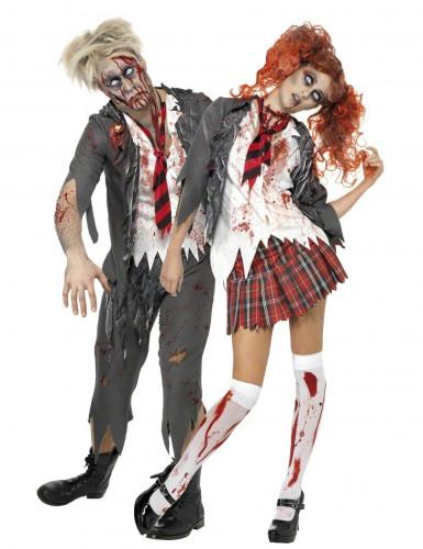 Koppel scholieren zombies Kostuums Halloween outfit