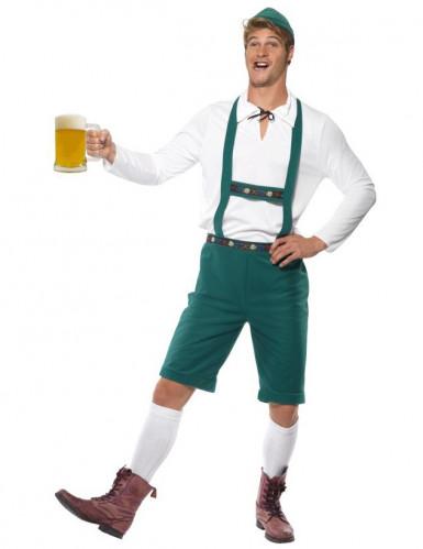 Groen Tiroler lederhoses pak voor heren