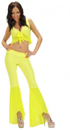 Sexy fluo geel disco kostuum voor vrouwen