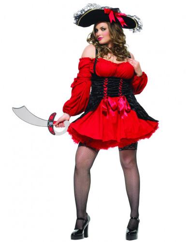 Rood piraten kostuum voor vrouwen - Plus Size