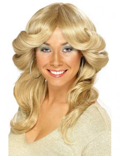 Blonde jaren '70 pruik met krullen voor vrouwen
